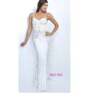 Blush Prom White embellished fitted gown dress